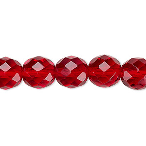 bead, czech fire-polished glass, translucent ruby red, 10mm faceted round. sold per 16-inch strand, approximately 40 beads.