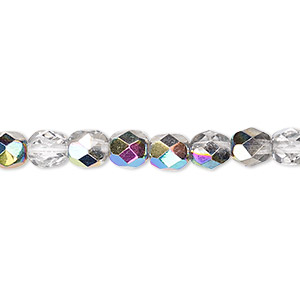 bead, czech fire-polished glass, translucent to transparent clear vitrail, 6mm faceted round. sold per 16-inch strand.