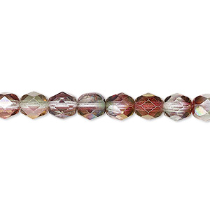 bead, czech fire-polished glass, translucent to transparent pink and green luster, 6mm faceted round. sold per 16-inch strand.