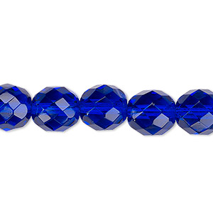 bead, czech fire-polished glass, transparent cobalt, 10mm faceted round. sold per 16-inch strand, approximately 40 beads.