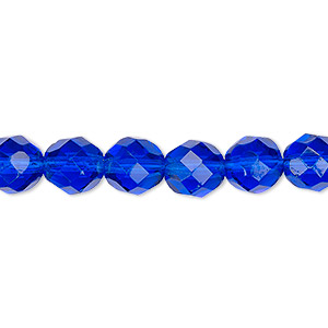bead, czech fire-polished glass, transparent cobalt, 8mm faceted round. sold per pkg of 600 (1/2 mass).