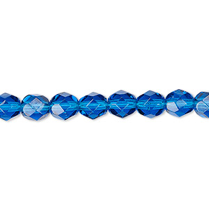 bead, czech fire-polished glass, transparent dark aqua blue, 6mm faceted round. sold per 16-inch strand, approximately 65 beads.