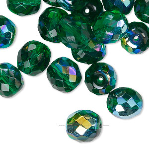 bead, czech fire-polished glass, transparent green ab, 10mm faceted round. sold per pkg of 40.