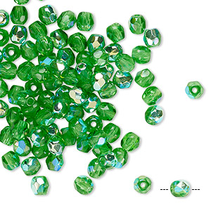 bead, czech fire-polished glass, transparent green ab, 4mm faceted round. sold per pkg of 100.