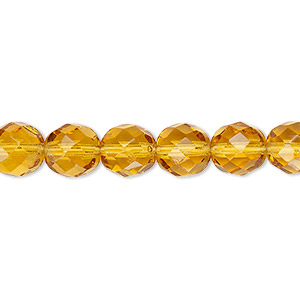 bead, czech fire-polished glass, transparent honey, 8mm faceted round. sold per 16-inch strand, approximately 50 beads.