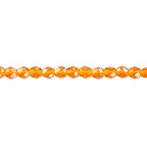 bead, czech fire-polished glass, transparent orange, 4mm faceted round. sold per 16-inch strand, approximately 100 beads.
