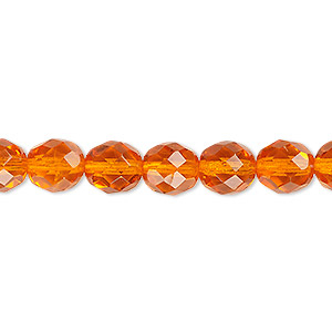 bead, czech fire-polished glass, transparent orange, 8mm faceted round. sold per 16-inch strand, approximately 50 beads.