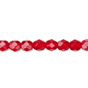 bead, czech fire-polished glass, transparent ruby red, 6mm faceted round. sold per 16-inch strand, approximately 65 beads.