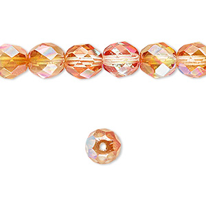 bead, czech fire-polished glass, two-tone clear ab and apricot medium, 8mm faceted round. sold per 16-inch strand.