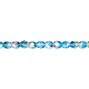 bead, czech fire-polished glass, two-tone, crystal / aqua ab, 4mm faceted round. sold per pkg of 1 mass.