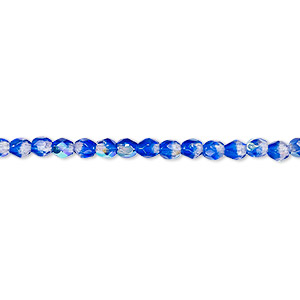 bead, czech fire-polished glass, two-tone, crystal / dark blue ab, 3mm faceted round. sold per pkg of 1 mass.