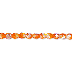 bead, czech fire-polished glass, two-tone, crystal / orange ab, 4mm faceted round. sold per pkg of 1 mass.