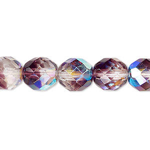 bead, czech fire-polished glass, two-tone, crystal/amethyst purple ab, 10mm faceted round. sold per 16-inch strand.
