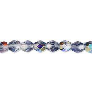 bead, czech fire-polished glass, two-tone, crystal/dark grey ab, 6mm faceted round. sold per 16-inch strand.