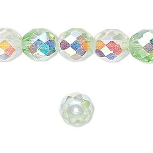 bead, czech fire-polished glass, two-tone, crystal/green ab, 10mm faceted round. sold per 16-inch strand.