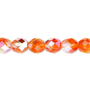 bead, czech fire-polished glass, two-tone, crystal/orange ab, 8mm faceted round. sold per 16-inch strand.