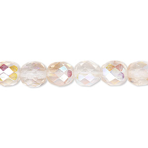 bead, czech fire-polished glass, two-tone, crystal/rose ab, 8mm faceted round. sold per 16-inch strand.