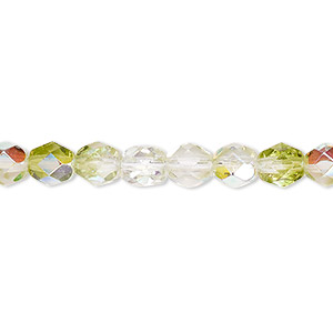 bead, czech fire-polished glass, two-tone, transparent crystal and peridot green ab, 6mm faceted round. sold per pkg of 1 mass.