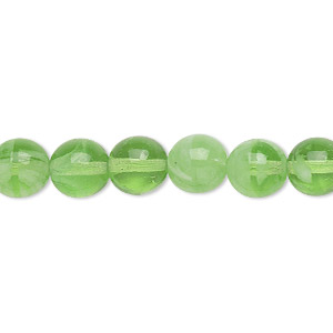 bead, czech glass druk, green and glow-in-the-dark, 8mm round with swirls and 0.8-1.3mm hole. sold per 8-inch strand, approximately 25 beads.
