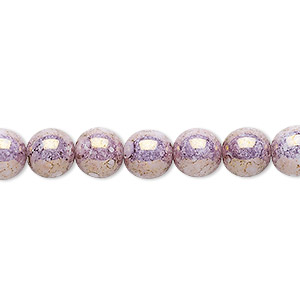 bead, czech glass druk, mauve granite, 8mm round with 0.8-1.3mm hole. sold per 16-inch strand.
