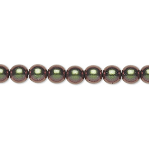 bead, czech glass druk, metallic green, 6mm round. sold per 16-inch strand, approximately 65 beads.