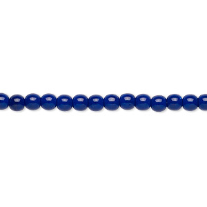bead, czech glass druk, opaque dark blue, 4mm round. sold per 16-inch strand.