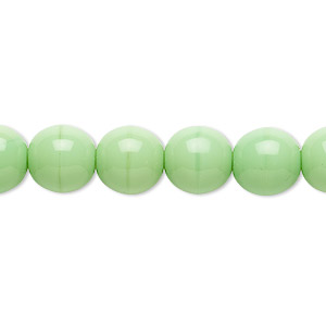 bead, czech glass druk, opaque green, 10mm round. sold per 16-inch strand, approximately 40 beads.