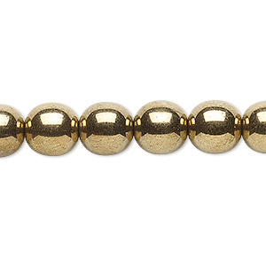 bead, czech glass druk, opaque light bronze, 10mm round. sold per 16-inch strand.