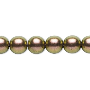 bead, czech glass druk, opaque metallic copper, 10mm round. sold per 16-inch strand, approximately 40 beads.