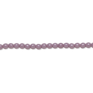 bead, czech glass druk, opaque purple, 3mm round. sold per 16-inch strand, approximately 130 beads.