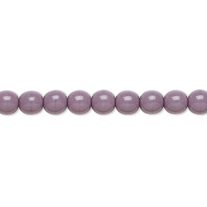bead, czech glass druk, opaque purple, 6mm round. sold per 16-inch strand, approximately 65 beads.