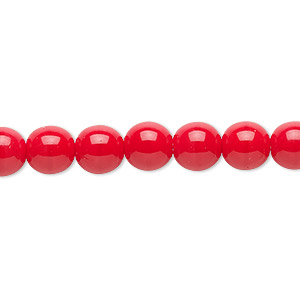 bead, czech glass druk, opaque red, 8mm round. sold per 16-inch strand.