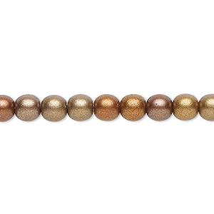 bead, czech glass druk, opaque satin bronze tone, 6mm round with 0.7-1.1mm hole. sold per 16-inch strand.