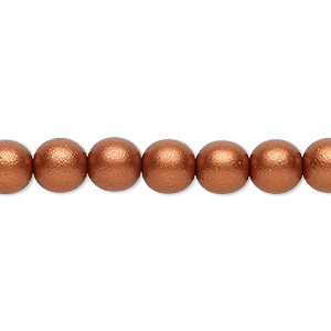 bead, czech glass druk, opaque satin copper, 8mm round. sold per 16-inch strand, approximately 50 beads.