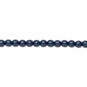 bead, czech glass druk, opaque satin dark blue, 4mm round with 0.8-1mm hole. sold per 16-inch strand.
