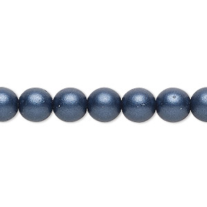 bead, czech glass druk, opaque satin dark blue, 8mm round with 0.8-1.3mm hole. sold per 16-inch strand.