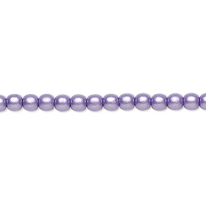 bead, czech glass druk, opaque satin purple, 4mm round with 0.8-1mm hole. sold per 16-inch strand.