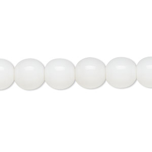 bead, czech glass druk, opaque white, 10mm round. sold per 16-inch strand.