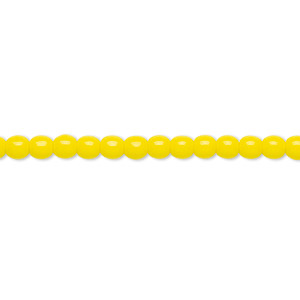 bead, czech glass druk, opaque yellow, 4mm round. sold per 16-inch strand.