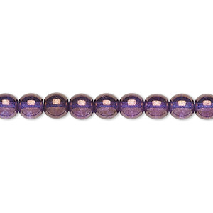 bead, czech glass druk, translucent lilac luster, 6mm round. sold per 16-inch strand.