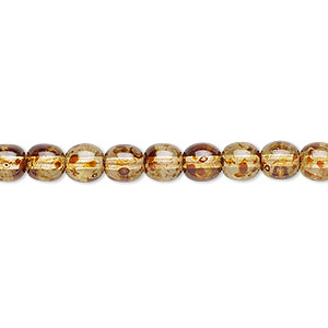 bead, czech glass druk, translucent tortoise luster, 6mm round. sold per 16-inch strand.