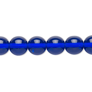 bead, czech glass druk, transparent cobalt, 10mm round. sold per 16-inch strand.