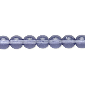 bead, czech glass druk, transparent lilac, 8mm round. sold per 16-inch strand, approximately 50 beads.