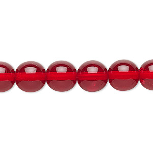 bead, czech glass druk, transparent ruby red, 10mm round. sold per 16-inch strand, approximately 40 beads.