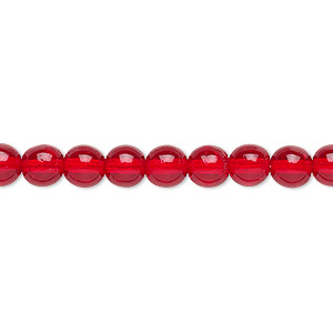 bead, czech glass druk, transparent ruby red, 6mm round. sold per 16-inch strand.