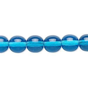 bead, czech glass druk, transparent turquoise blue, 10mm round. sold per 16-inch strand.