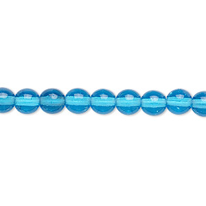 bead, czech glass druk, transparent turquoise blue, 6mm round. sold per 16-inch strand.