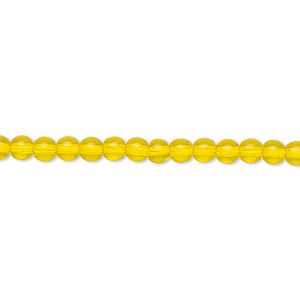 bead, czech glass druk, transparent yellow, 4mm round. sold per 16-inch strand.