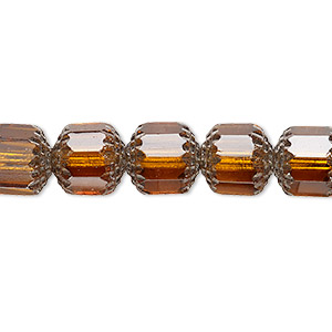 bead, czech glass, honey and metallic silver, 10mm round cathedral. sold per 16-inch strand, approximately 40 beads.