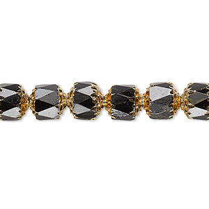 bead, czech glass, opaque jet and metallic gold, 8mm round cathedral. sold per 16-inch strand.